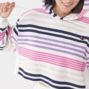 Champion UO Exclusive Striped Cropped Hoodie